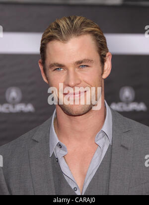 April 11, 2012 - Hollywood, California, U.S. - CHRIS HEMSWORTH arrives for the premiere of the film 'The Avengers' - Stock Photo