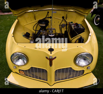 April 14, 2012 - Phoeniz, AZ, USA -  Under the hood of a 1947 American-built Crosley, one of approximately 60 micro - Stock Photo