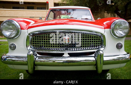 April 14, 2012 - Phoeniz, AZ, USA -  A 1956 Nash Metropolitan, one of approximately 60 micro and mini cars which - Stock Photo