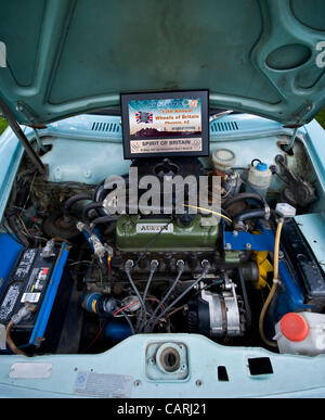 April 14, 2012 - Phoeniz, AZ, USA -  The engine compartment of a 1970 Austin America, one of approximately 60 micro - Stock Photo