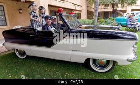 April 14, 2012 - Phoeniz, AZ, USA -  Kent and Sandy Blankenburg and mannequins of the 1940's advertising icons, - Stock Photo