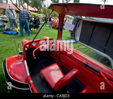 April 14, 2012 - Phoeniz, AZ, USA -  Interior of a 1955 Messerschmitt Kabinenroller, one of approximately 60 micro - Stock Photo