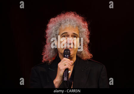 LONDON, Covent Garden, 15 April 2012.  At the Olivier Awards 2012, Brian May (lead guitarist of the rock band, Queen) - Stock Photo