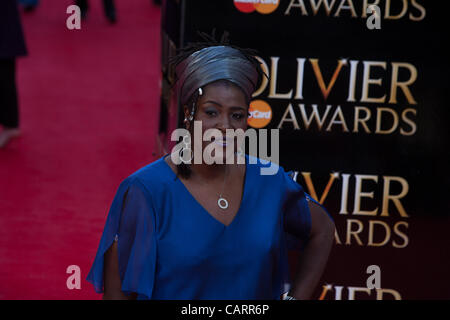 London, UK, 15/04/2012. Actress, Sharon D. Clarke arrives at the 2012 Laurence Olivier Awards. She is nominated - Stock Photo