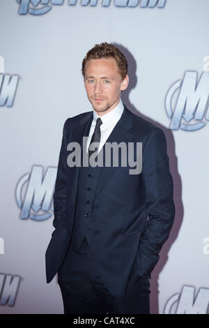 17.04.2012.  Moscow. Russia. SThe Avengers film premiere. Pictured: Tom Hiddleston - Stock Photo