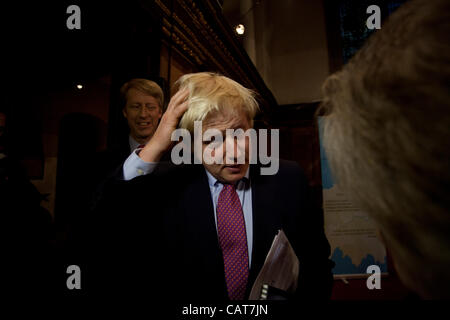 London, UK. 18 April, 2012. Mayor of London Boris Johnson answers a question from a member of the public after the - Stock Photo