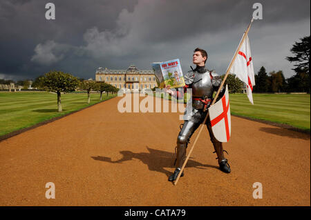 Homework for St George before he takes on the dragon at this weekend's St George's Day Festival at English Heritage's - Stock Photo