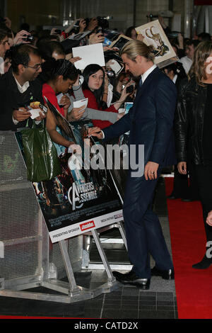 London, UK, 19/04/ 2012: Chris Hemsworth attends the Avengers Assemble - UK film premiere at the Vue Westfield, - Stock Photo