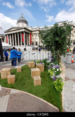 London, UK. Saturday 21st April 2012. Trafalgar Square becomes English Garden for St. George's Day this coming Monday. - Stock Photo