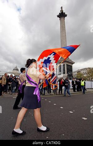 London, UK. Saturday 21st April 2012. Armenian Genocide of 1915 Commemoration March, London. An anti-Turkey demonstration - Stock Photo