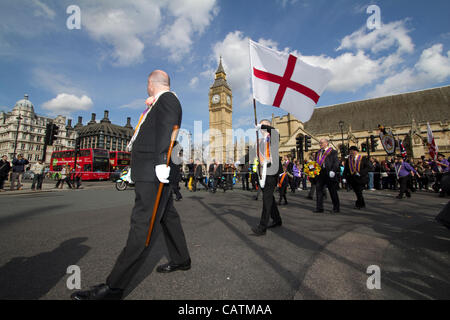 21/04/2012 London UK protestants of the Orange Order march through Central London today, the Orange Lodge, or the - Stock Photo