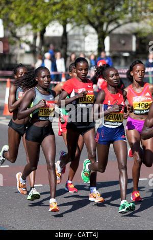 Mary Keitany of Kenya Womens Winner of the Virgin 2012 London Marathon 22 Apr 12, The Highway, London, UK. - Stock Photo