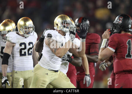 Nov. 26, 2011 - Palo Alto, California, USA - Notre Dame's Aaron Lynch (19). The Notre Dame Fighting Irish was dominated - Stock Photo