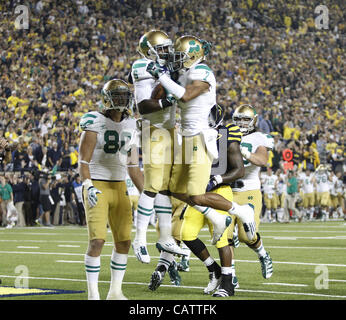 Sept. 10, 2011 - Ann Arbor, Michigan, USA - The Notre Dame Fighting Irish lost to the Michigan Wolverines in the - Stock Photo
