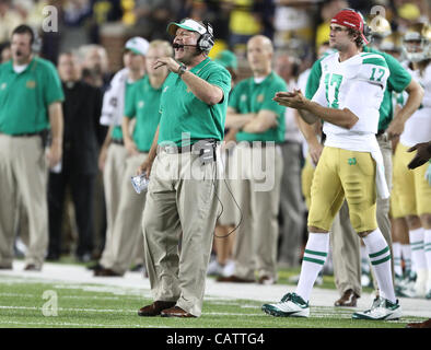 Sept. 10, 2011 - Ann Arbor, Michigan, USA - Notre Dame head coach Brian Kelly.  The Notre Dame Fighting Irish lost - Stock Photo