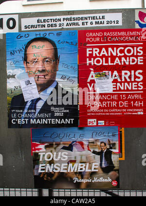 Paris, France, Vandalized Candidate posters on Display on Street,  French Presidential Elections, 'François Hollande' - Stock Photo