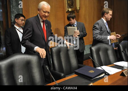 April 25, 2012 - Washington, DC, U.S. - Sen. ORRIN HATCH, R-UT, arrives for a hearing of the Senate Finance Committee - Stock Photo