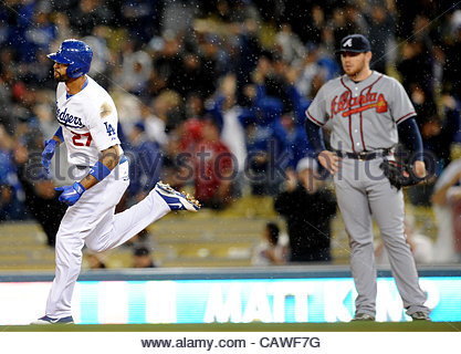 Los Angeles Dodgers' Matt Kemp (27) rounds first base after hitting a solo home run to break the 1-1 tie as as Atlanta - Stock Photo