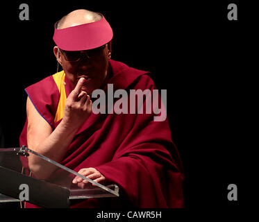 April 28, 2012 - Ottawa, Ontario, Canada - Dalai Lama gestures while he addresses the audience during a talk on - Stock Photo