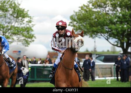 05.05.2012. Newmarket Guineas Horse Festival.  OLIVIER PESLIER ON  FRENCH FIFTEEN at THE QIPCO 2000 GUNEAS STAKES - Stock Photo