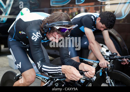 HERNING, Denmark - Saturday, May 5th, 2012: Sky Procycling riders Rigoberto Uran Uran (left) from Colombia and Peter - Stock Photo