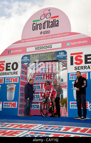 HERNING, Denmark - Saturday, May 5th, 2012: Katusha Team rider, Norwegian Alexander Kristoff, is waiting for the - Stock Photo