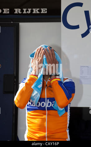 HERNING, Denmark - Saturday, May 5th, 2012: Rabobank rider Juan Manuel Garate Cepa wipe off the sweat after warm - Stock Photo