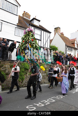 Hastings, UK. 07 May, 2012. The Sweeps take part in the Jack in the Green parade as it makes its way through Hastings - Stock Photo