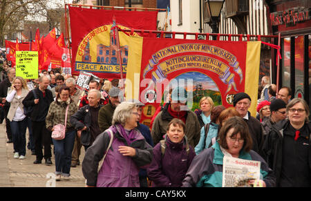 Chesterfield, Derbyshire, UK. 7th May 2012 . May Day campaigners marching at the 35th Peoples Gala and Demonstration. - Stock Photo