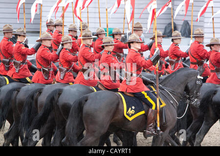 Thursday 10th May 2012. The Royal Canadian Mounted Police (Mounties) perform the Musical Ride at the Royal Windsor - Stock Photo