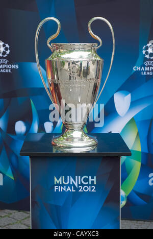 Munich, Germany – May 11 : UEFA Champions League Trophy on display for the May 19 Champions League Final May 11, - Stock Photo