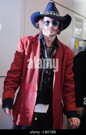 May 12, 2012, Chiba, Japan - US actor Johnny Depp arrives at Narita International Airport. Johnny Depp is in Japan - Stock Photo