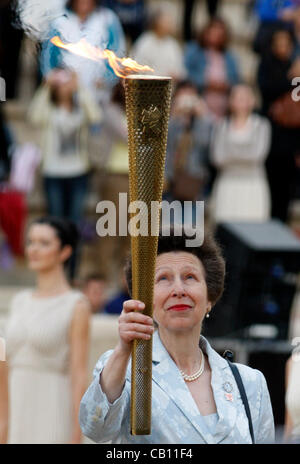 May 17 2012 Athens Greece. PRINCESS ANNE, holds the torch with the Olympic Flame at the handover ceremony at the - Stock Photo