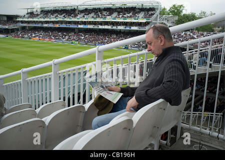 Lords Cricket ground, London 18 May 2012. Spectators and fans attending the First test match between England and - Stock Photo