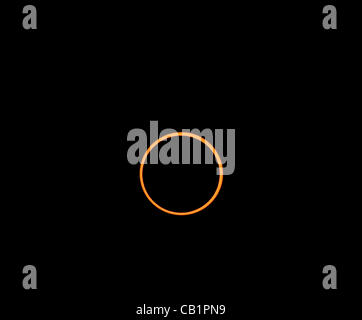 Sunday May 20 2012, the moon positioned directly in front of the sun for maximum coverage during the annular eclipse - Stock Photo