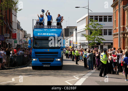 Wednesday, May 23rd 2012.  Swindon, Wiltshire, England, UK. The Samsung coach signals the imminent arrival of the - Stock Photo