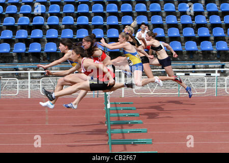 Yalta, Ukraine - May 24  girls age 17  at the hurdles race on the international athletic meet UKRAINE - TURKEY  - Stock Photo