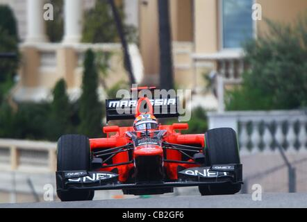 24.05.2012.Monte Carlo, Monaco. German Formula One driver Timo Glock of Marussia steers his car on the track during - Stock Photo