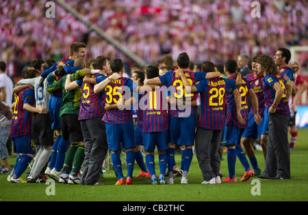 MADRID, SPAIN - MAY 25:  F.C.Barcelona players celebrate after beating Athletic de Bilbao in the Copa del Rey Final - Stock Photo