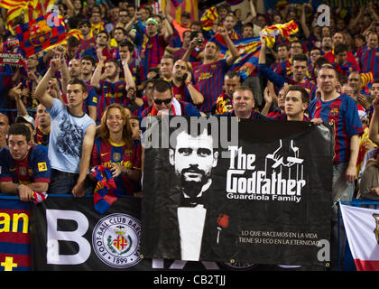 MADRID, SPAIN - MAY 25:  Supporters of F.C. Barcelona during the Copa del Rey Final between Athletic Bilbao and - Stock Photo