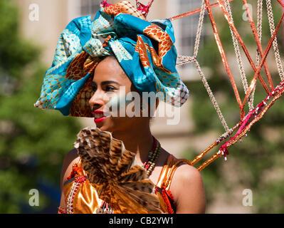 Preston Caribbean Festival King & Queen Costume Contest, Flag Black street dancer in Market  Preston, Lancashire, - Stock Photo