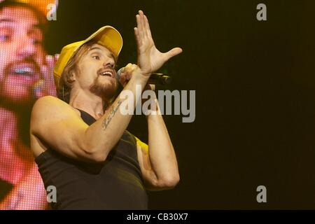 May 25, 2012 - Madrid, Spain - Macaco performs on stage during Spring Pop 2012 Festival at Palacio Vistalegre on - Stock Photo