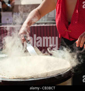 High Noon community festival is a Northcote local music fest in Melbourne, Australia the making food/crepes on the - Stock Photo