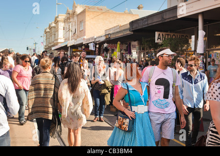 interesting fashions at the High Noon community festival is a Northcote local music fest in Melbourne, Australia - Stock Photo