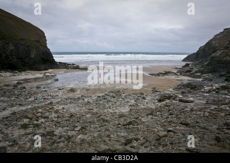 Beach at Chapel Porth, red flagged. - Stock Photo