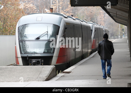 Three passenger trains parked in Sofia Central station on the first day of the railway strike in Bulgaria - Stock Photo