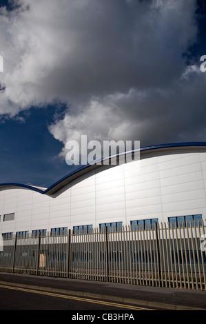 Steel fabricators workshop buildings at Shoreham Port, West Sussex, UK - Stock Photo