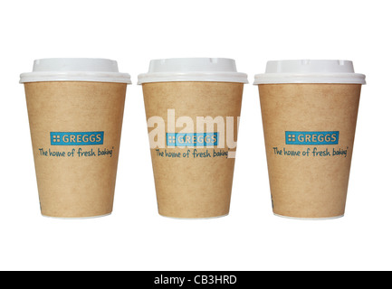 Greggs the bakers row of three paper cups or mugs or beakers with plastic lids, England UK  isolated on white background - Stock Photo