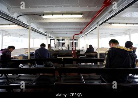 passengers on the star ferry hong kong island hksar china - Stock Photo
