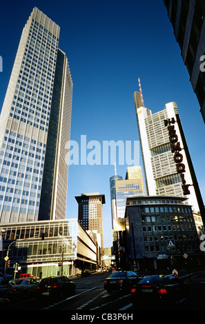 Banking district and commercial centre of Frankfurt am Main. Left to right: ECB, Japan Centre, HeLaBa and Commerzbank - Stock Photo